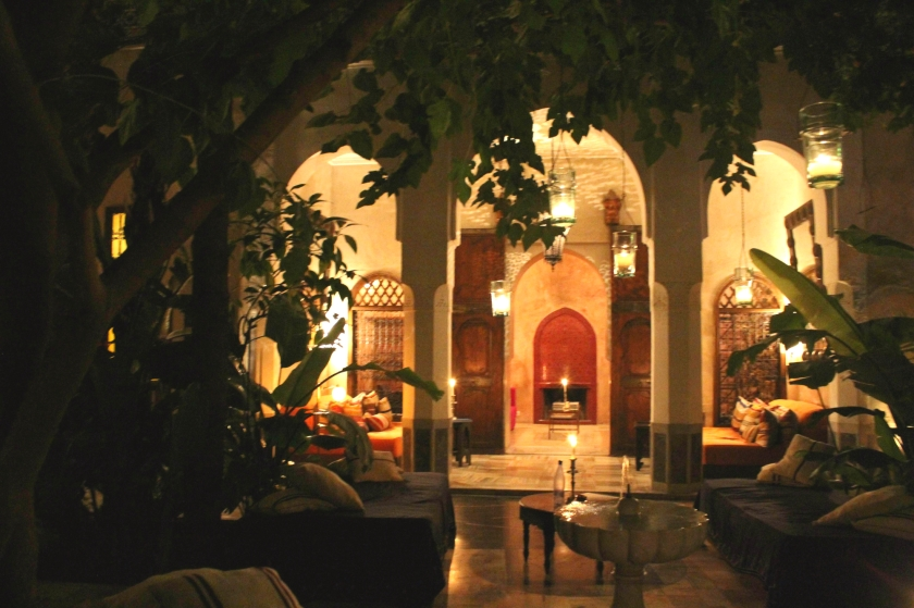Marrakech-El Fenn-riad-night-candlelight-Midnight Blue Elephant
